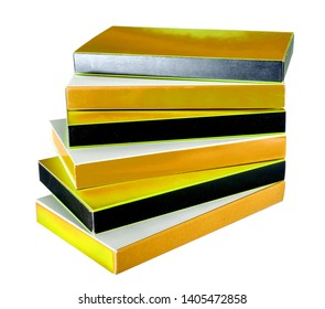 a lot of cardboxes with golden white and black sides and free place for text