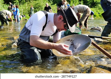 CARDET, FRANCE - MAY 24: Gold prospectors in full competition for the European Cup in France gold panning in the river Gardon located in the department of Gard, May 24, 2015.