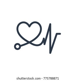 Cardiac care icon. Isolated heart pulse and cardiac care icon line style. Premium quality   heart pulse symbol drawing cardiac care concept for your logo web mobile app UI design.
