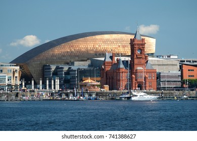 Cardiff Bay, including the Pierhead Building, Wales Millennium Centre and merry-go-round. Photographed June 2017
