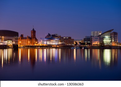 Cardiff bay skyline at night ,Wales