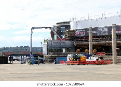 Cardiff Bay, Cardiff UK - May 10 2019: Construction work in Mermaid Quay's 'Roald Dahl Plass', to construct Everyman Cinema and eateries.