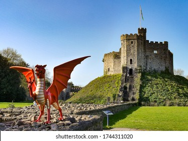 Cardiff Castle and dragon on a sunny day