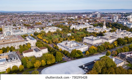 Cardiff city centre in the autumn viewed from the air