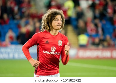 Cardiff City Stadium, Cardiff, Wales- October 9th, 2017: Ethan Ampadu warms up for Wales