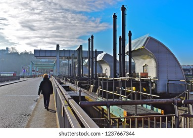 Cardiff, Cardiff County / Wales UK - 1/11/2018 : Cardiff Bay Barrage sluice gates which control the flow of water in and out of the enclosed Bay.The barrage is 1.1km long from the Docks to Penarth.