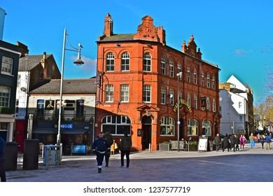 Cardiff, Cardiff County / Wales UK - 2/7/2018 : The Duke of Wellington pub (built 1892) is located in the heart of bustling Cardiff city centre. Owned & operated by S A Brain Co, famous local brewers.