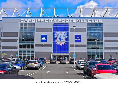 Cardiff, Cardiff County / Wales UK -4/25/2018: Cardiff City Football Club Stadium in Leckwith. Main entrance with cars parked in front.