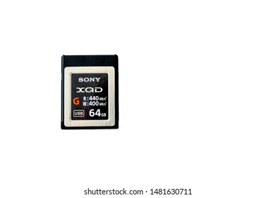 Cardiff, Glamorgan Wales August 18 2019 A Sony XQD memory Card retail 64 GB storage