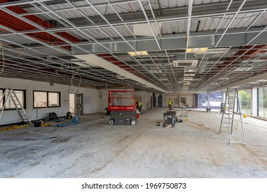 Cardiff, Gwent, Wales - February 3rd 2021: the interior of an industrial warehouse is renovated