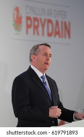 CARDIFF - MAR 17, 2017: Liam Fox MP, Secretary of State for International Trade speaks at the Conservative Spring Forum taking place at the SSE SWALEC Stadium Cardiff