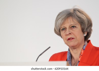 CARDIFF - MAR 17, 2017: The Prime Minister Theresa May speaks at the Conservative Spring Forum taking place at the SSE SWALEC Stadium