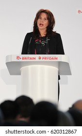 CARDIFF - MAR 17, 2017: Trudy Harrison, MP for Copeland speaks at the Conservative Spring Forum taking place at the SSE SWALEC Stadium