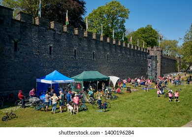 CARDIFF, SOUTH GLAMORGAN/ WALES - MAY 12TH 2019; 'HSBC UK Let's ride Cardiff' free cycle festival in Cardiff outside the Norman Cardiff Castle