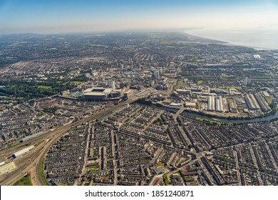 Cardiff, South Glamorgan, Wales, UK 08/07/2015 Aerial views of Cardiff City Centre