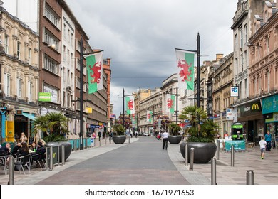 Cardiff, UK. 10 March 2020. View of Saint Mary Street, with Welsh flags.