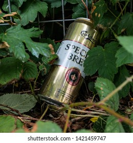 Cardiff, UK. 11th June 2019. Discarded can of Carlsberg Special Brew Lager lying in undergrowth.
