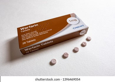 Cardiff, UK. 13 May 2019. Packet of Warfarin Tablets, used to thin blood in patients who are at risk of blood clots which can cause strokes and heart diseases.
