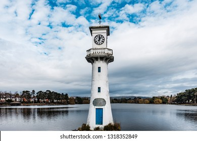 Cardiff, UK. 20th February 2019. The Scott Memorial, Roath Park Lake, Cardiff. Famous landmark to the memory of Captain Robert Scott and his companions who died in the Antarctic in 1912.