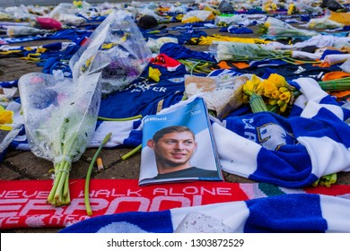 Cardiff, UK. 4th February 2019. Tributes at Cardiff City Stadium for footballer Emiliano Sala, who died in a plane crash on his way to join Cardiff City from Nantes FC.