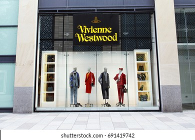 Cardiff, UK: August 05, 2016: A Vivienne Westwood fashion outlet in Cardiff. Famous for her pioneering punk fashions in the 1980's Ms Westwood still sells her fashion line via shops or Internet.