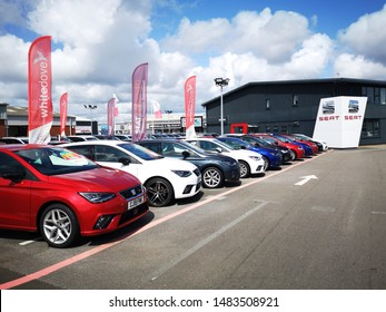 Cardiff, UK: August 19, 2019: SEAT Car Dealership with new and used cars on sale. SEAT is a Spanish automobile manufacturer with its head office in Martorell, Spain and was founded in 1950.