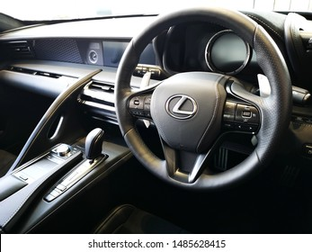 Cardiff, UK: August 19, 2019: Lexus LC 500 hybrid car dashboard. Lexus is the luxury vehicle division of Japanese automaker Toyota.