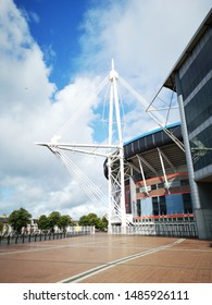 Cardiff, UK: August 19, 2019: The Principality Stadium was formerly known as the Millennium Stadium but changed its name in 2016 for sponsorship purposes. It is the national stadium of Wales.