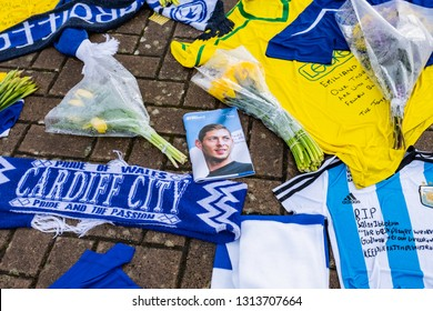 Cardiff, UK. February 2019. Tributes to Emiliano Sala at Cardiff City Stadium. Sala died in a plane crash on his way to join his new club from FC Nantes of France.