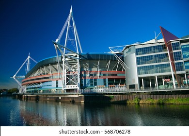 Cardiff, UK - January 2, 2013. Millennium Stadium in Cardiff, Wales. Used for the Welsh Rugby Team, and  hosts Music Festivals. On  22 January 2016,  the name was changed to The Principality Stadium.