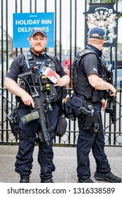Cardiff, UK. June 2017. Armed British Police Officers on the streets of Cardiff.