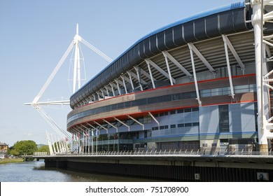 Cardiff, UK: May 24, 2016: The Principality Stadium was formerly known as the Millennium Stadium but changed its name in 2016 for sponsorship purposes. It is the national stadium of Wales