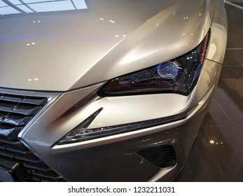 Cardiff, UK: November 16, 2018: Lexus NX300h car for sale at a showroom. Lexus is the luxury vehicle division of Japanese automaker Toyota.