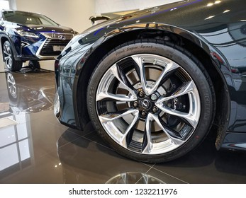 Cardiff, UK: November 16, 2018: Lexus LS 500h car for sale at a showroom. Lexus is the luxury vehicle division of Japanese automaker Toyota.