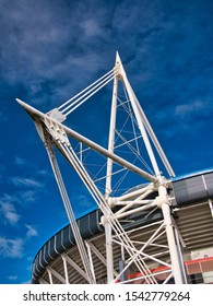 Cardiff, UK - Oct 22, 2019: One of the four white cable-stayed truss masts at the Cardiff Millennium / Principality Stadium - the four masts are 94m tall.