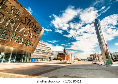 CARDIFF, UK - SEPTEMBER 8, 2010: Cardiff Millennium Centre in Cardiff Bay, Cardiff, Wales. Main Donald Gordon Theatre has 1,897 seats, BBC Hoddinott Hall has 350 and Weston Studio Theatre 250.