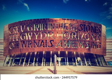 CARDIFF, UK - SEPTEMBER 8, 2010: Building of Cardiff Millennium Centre in Wales, UK. It center hosts performances of opera, ballet, dance, comedy and musicals. Retro filter applied in post processing.