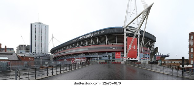 Cardiff, United Kingdom - December 01, 2018: The modern Millennium Principality Stadium, during a cloudy and wet winter day, in Cardiff, Wales, United Kingdom