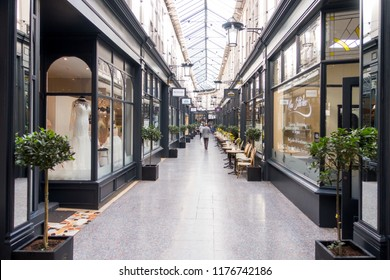 Cardiff, United Kingdom -  September 07, 2017: Castle Quarter Arcade with shops and coffee shops in Cardiff city center.
