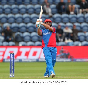 CARDIFF, WALES. 04 JUNE 2019: Hazratullah Zazai of Afghanistan hits the ball for six runs during the Afghanistan v Sri Lanka, ICC Cricket World Cup match, at Cardiff Wales Stadium, Cardiff, Wales.