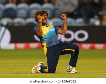 CARDIFF, WALES. 04 JUNE 2019: Lasith Malinga of Sri Lanka celebrates taking the wicket of Hamid Hasan of Afghanistan during the Afghanistan v Sri Lanka, ICC Cricket World Cup match