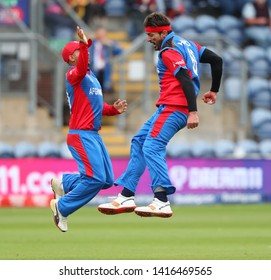 CARDIFF, WALES. 04 JUNE 2019: Hamid Hasan of Afghanistan celebrates taking the wicket of Dhananjaya de Silva of Sri Lanka during the Afghanistan v Sri Lanka, ICC Cricket World Cup match