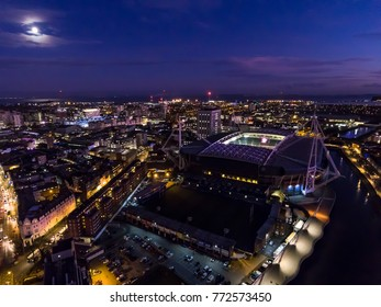 CARDIFF, WALES - 2017: Aerial view of the Millennium stadium / Principality stadium at night.