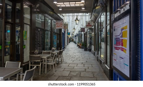 Cardiff, Wales - Aug 27, 2018: Looking inside of Royal Arcade Cardiff, early morning before Business opening time