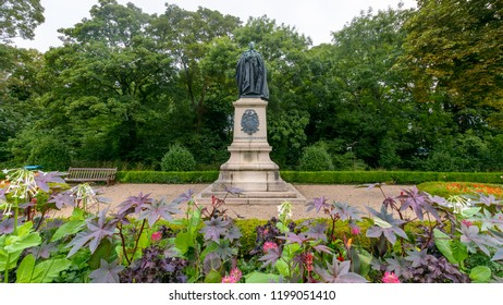 Cardiff, Wales - Aug 27, 2018: Statue of John III Marquess of Bute in Friary Gardens Cardiff, horizontal photography