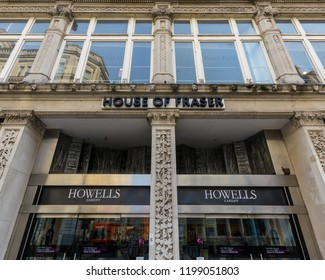 Cardiff, Wales - Aug 27, 2018: Entrance to House of Fraser Shop in Cardiff, low angle horizontal photography