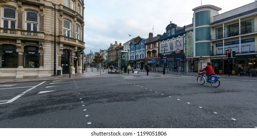 Cardiff, Wales - Aug 27, 2018: Corner of St Mary Street and Wood Street Cardiff, early morning, low traffic, pedestrian crossing