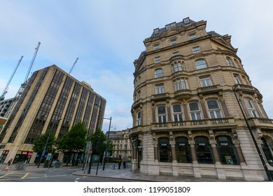Cardiff, Wales - Aug 27, 2018: Old and modern architecture in Cardiff St Mary Street