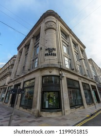 Cardiff, Wales - Aug 27, 2018: House of Fraser Cardiff, corner building on St Mary Street and Wharton Street