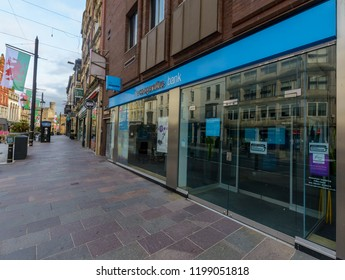 Cardiff, Wales - Aug 27, 2018: The Co-operative Bank on High Street Cardiff, early morning, horizontal photography